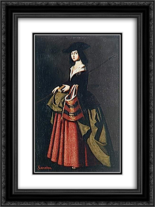 Sainte Marine 18x24 Black or Gold Ornate Framed and Double Matted Art Print by Francisco de Zurbaran