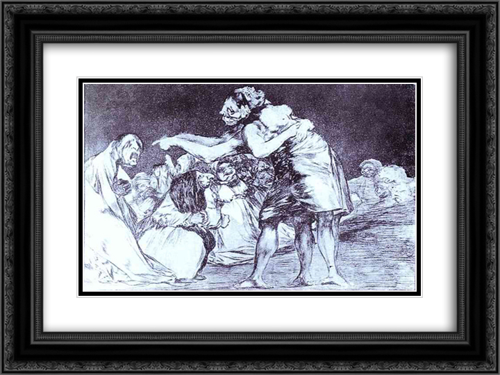 Disordered 24x18 Black or Gold Ornate Framed and Double Matted Art Print by Francisco Goya