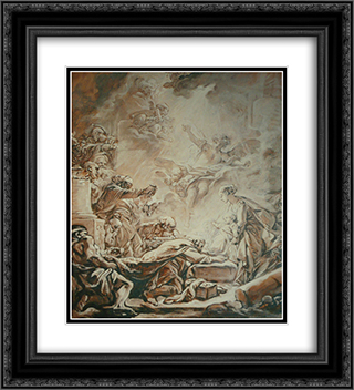 Adoration of the Magi 20x22 Black or Gold Ornate Framed and Double Matted Art Print by Francois Boucher