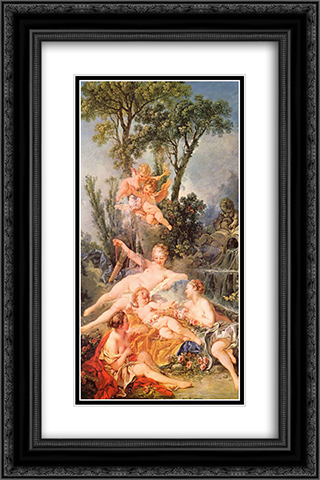 Amor a prisoner 16x24 Black or Gold Ornate Framed and Double Matted Art Print by Francois Boucher