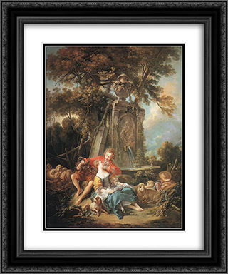 An Autumn Pastoral 20x24 Black or Gold Ornate Framed and Double Matted Art Print by Francois Boucher