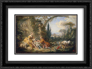 Charms of Country Life 24x18 Black or Gold Ornate Framed and Double Matted Art Print by Francois Boucher