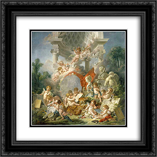 Geniuses of arts 20x20 Black or Gold Ornate Framed and Double Matted Art Print by Francois Boucher