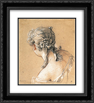 Head of a Woman from Behind 20x22 Black or Gold Ornate Framed and Double Matted Art Print by Francois Boucher