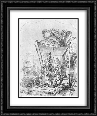 Lady with an Umbrella 20x24 Black or Gold Ornate Framed and Double Matted Art Print by Francois Boucher