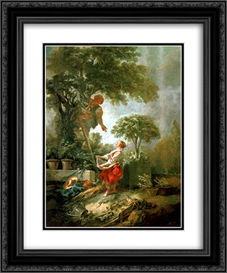 Landscape with Kirschpfluckerin 20x24 Black or Gold Ornate Framed and Double Matted Art Print by Francois Boucher