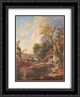 Landscape with the brother Lucas 20x24 Black or Gold Ornate Framed and Double Matted Art Print by Francois Boucher