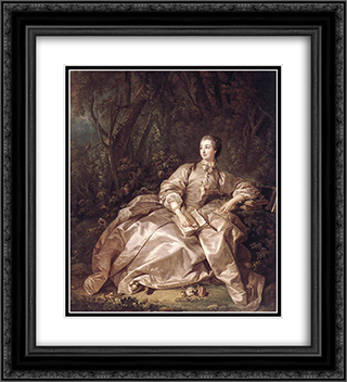 Madame de Pompadour 20x22 Black or Gold Ornate Framed and Double Matted Art Print by Francois Boucher