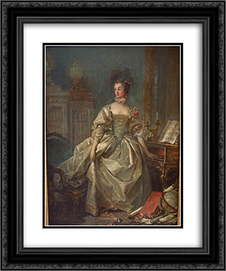 Marquise de Pompadour 20x24 Black or Gold Ornate Framed and Double Matted Art Print by Francois Boucher
