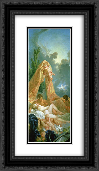 Mars and Venus 14x24 Black or Gold Ornate Framed and Double Matted Art Print by Francois Boucher