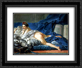 Odalisque 24x20 Black or Gold Ornate Framed and Double Matted Art Print by Francois Boucher