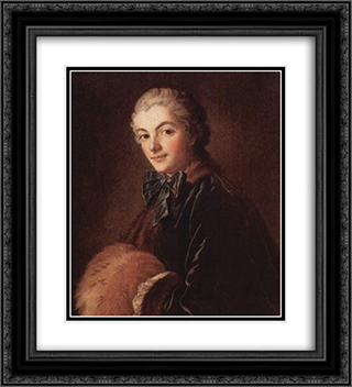Portrait of a Lady with Muff 20x22 Black or Gold Ornate Framed and Double Matted Art Print by Francois Boucher