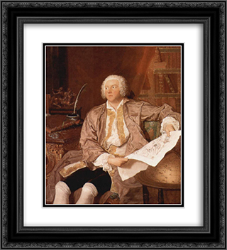 Portrait of Carl Gustaf Tessin 20x22 Black or Gold Ornate Framed and Double Matted Art Print by Francois Boucher