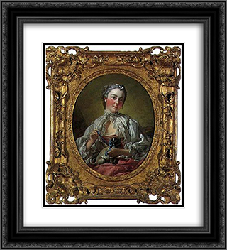 Portrait of Madame Boucher 20x22 Black or Gold Ornate Framed and Double Matted Art Print by Francois Boucher