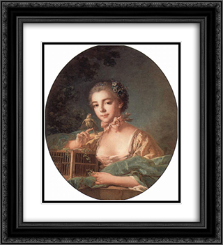 Portrait of the artist`s daughter 20x22 Black or Gold Ornate Framed and Double Matted Art Print by Francois Boucher