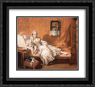 Portrait of the artist`s wife 22x20 Black or Gold Ornate Framed and Double Matted Art Print by Francois Boucher