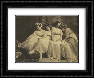 Slumbering Maidens 24x20 Black or Gold Ornate Framed and Double Matted Art Print by Frank Eugene