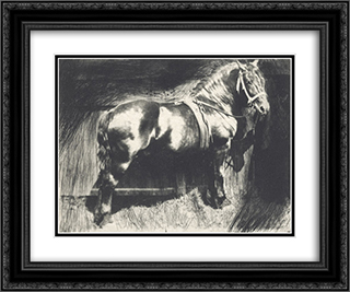The Horse 24x20 Black or Gold Ornate Framed and Double Matted Art Print by Frank Eugene