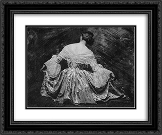 Woman in Dress 24x20 Black or Gold Ornate Framed and Double Matted Art Print by Frank Eugene