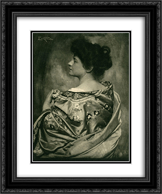Woman in Kimono 20x24 Black or Gold Ornate Framed and Double Matted Art Print by Frank Eugene