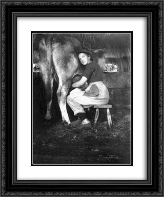 Woman Milking Cow 20x24 Black or Gold Ornate Framed and Double Matted Art Print by Frank Eugene