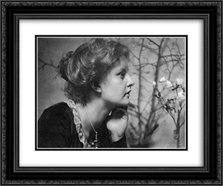 Woman with Flowers 24x20 Black or Gold Ornate Framed and Double Matted Art Print by Frank Eugene
