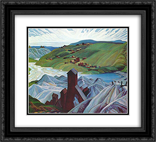 A Northern Silver Mine 22x20 Black or Gold Ornate Framed and Double Matted Art Print by Franklin Carmichael