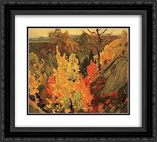 Autumn 22x20 Black or Gold Ornate Framed and Double Matted Art Print by Franklin Carmichael