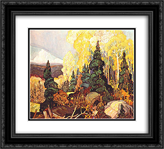 Autumn Hillside 22x20 Black or Gold Ornate Framed and Double Matted Art Print by Franklin Carmichael