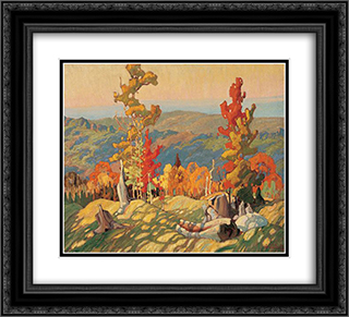 Autumn in the Northland 22x20 Black or Gold Ornate Framed and Double Matted Art Print by Franklin Carmichael