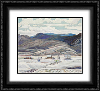 Bisset Farm 22x20 Black or Gold Ornate Framed and Double Matted Art Print by Franklin Carmichael