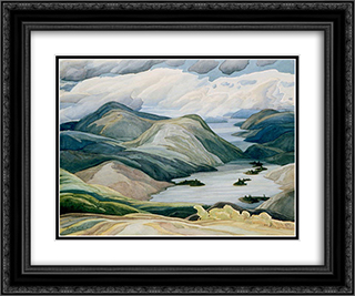 Grace Lake 24x20 Black or Gold Ornate Framed and Double Matted Art Print by Franklin Carmichael