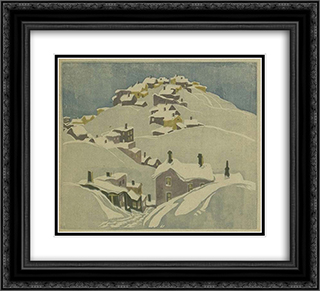 Houses, Cobalt 22x20 Black or Gold Ornate Framed and Double Matted Art Print by Franklin Carmichael