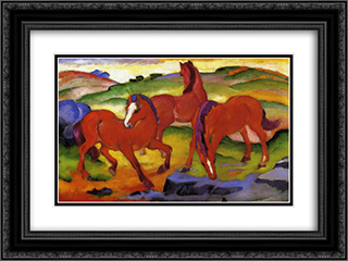 Grazing Horses IV (The Red Horses) 24x18 Black or Gold Ornate Framed and Double Matted Art Print by Franz Marc