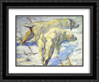 Siberian Sheepdogs 24x20 Black or Gold Ornate Framed and Double Matted Art Print by Franz Marc