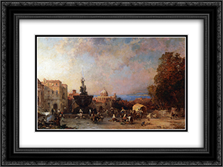 A Market in Naples 24x18 Black or Gold Ornate Framed and Double Matted Art Print by Franz Richard Unterberger