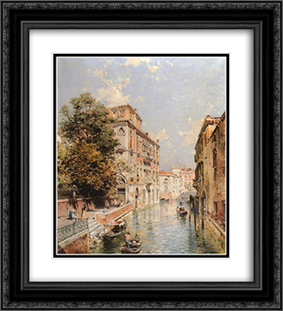 A View in Venice, Rio S. Marina 20x22 Black or Gold Ornate Framed and Double Matted Art Print by Franz Richard Unterberger