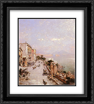 A View of Posilippo, Naples 20x22 Black or Gold Ornate Framed and Double Matted Art Print by Franz Richard Unterberger