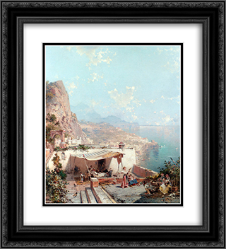 Amalfi, The Gulf Of Salerno 20x22 Black or Gold Ornate Framed and Double Matted Art Print by Franz Richard Unterberger