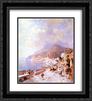 Amalfi 20x22 Black or Gold Ornate Framed and Double Matted Art Print by Franz Richard Unterberger