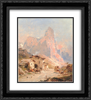Figures in a Village in the Dolomites 20x22 Black or Gold Ornate Framed and Double Matted Art Print by Franz Richard Unterberger
