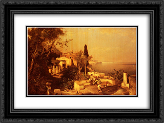 Fishermen on the Terrace 24x18 Black or Gold Ornate Framed and Double Matted Art Print by Franz Richard Unterberger