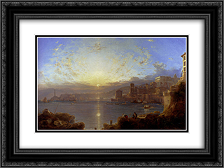Genoa 24x18 Black or Gold Ornate Framed and Double Matted Art Print by Franz Richard Unterberger
