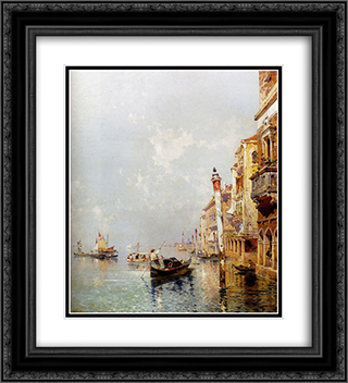 Giudecca Canal 20x22 Black or Gold Ornate Framed and Double Matted Art Print by Franz Richard Unterberger