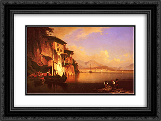 Motio of Lake Garda 24x18 Black or Gold Ornate Framed and Double Matted Art Print by Franz Richard Unterberger