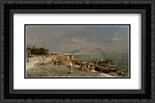 On The Waterfront at Palermo 24x16 Black or Gold Ornate Framed and Double Matted Art Print by Franz Richard Unterberger