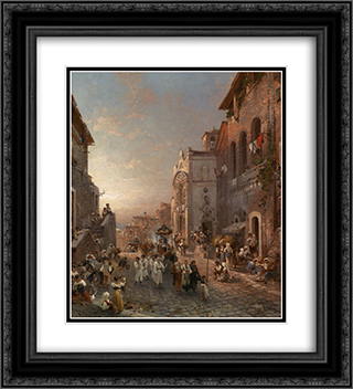 Procession in Naples 20x22 Black or Gold Ornate Framed and Double Matted Art Print by Franz Richard Unterberger