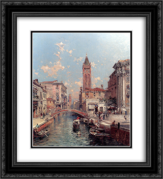 Rio Santa Barnaba, Venice 20x22 Black or Gold Ornate Framed and Double Matted Art Print by Franz Richard Unterberger