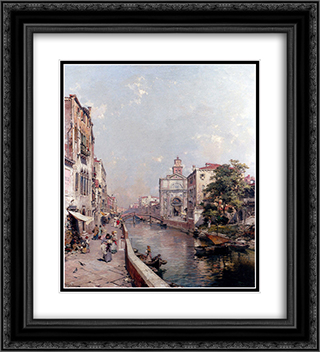 Rio St. Geronimo, Venice 20x22 Black or Gold Ornate Framed and Double Matted Art Print by Franz Richard Unterberger
