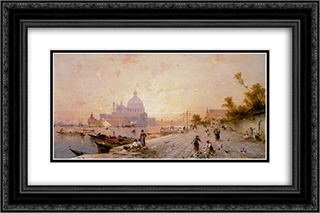 Riva degli Schiavoni, Venice 24x16 Black or Gold Ornate Framed and Double Matted Art Print by Franz Richard Unterberger
